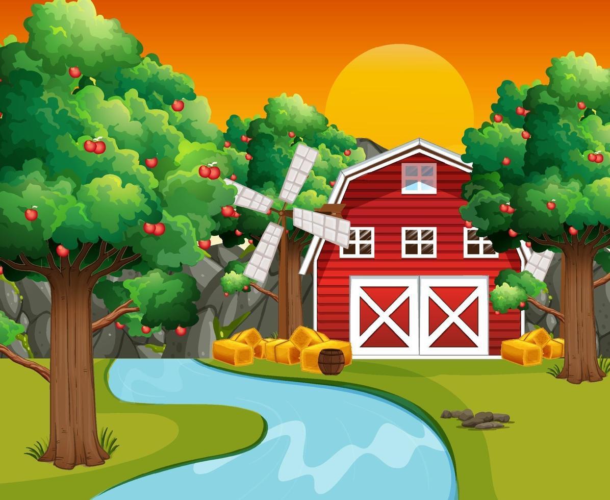 boerderijscène met rode schuur en windmolen vector