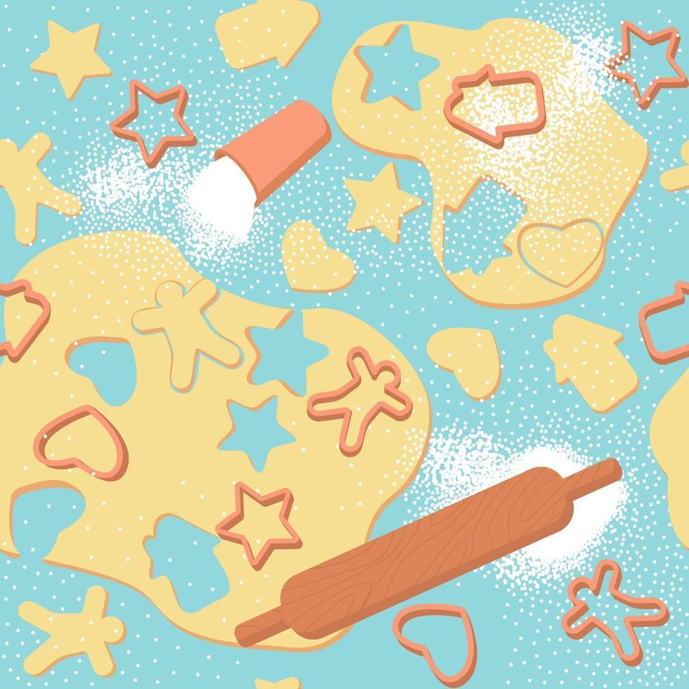 naadloze patroon van gerold deeg en koekjesfiguren vector