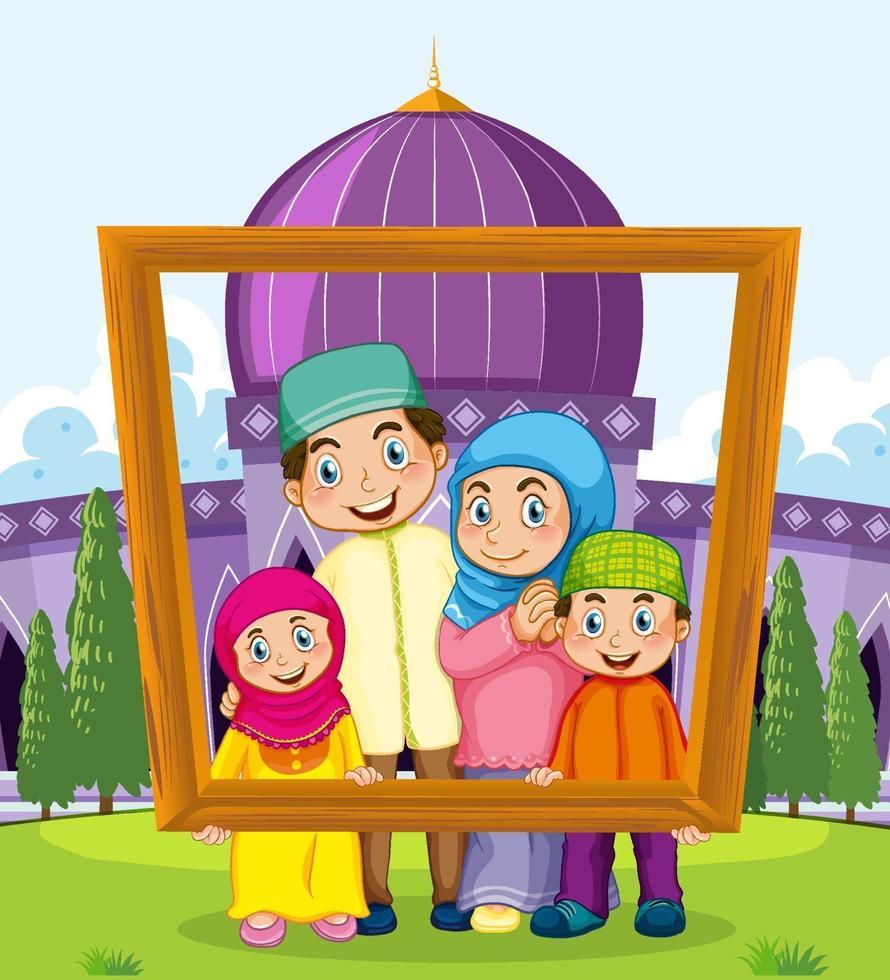 gelukkige familie fotolijst met moskee op de achtergrond houden vector