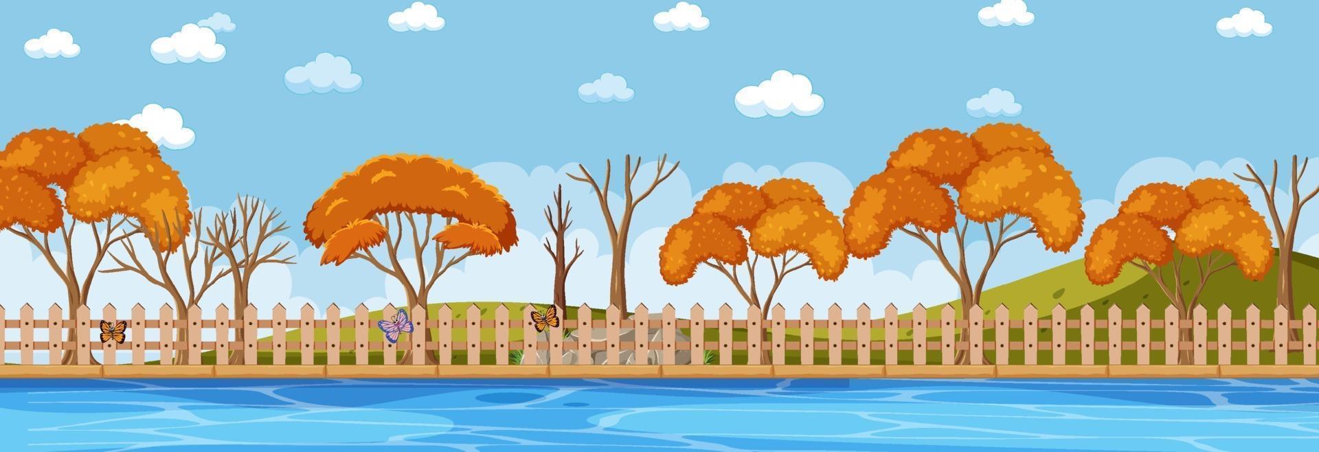 park in de herfst seizoen horizontale scène overdag vector
