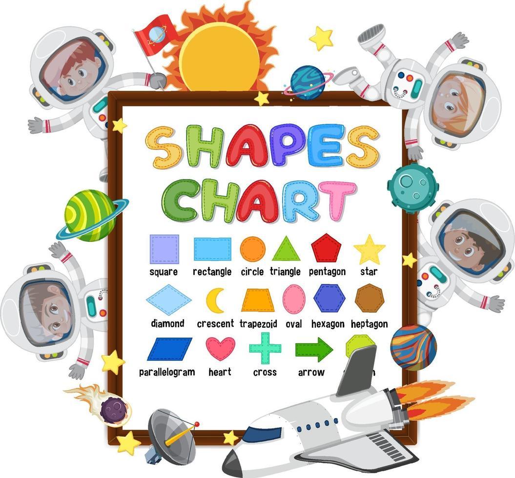 vormen een kaartbord met veel kinderen in astronautenkostuums vector