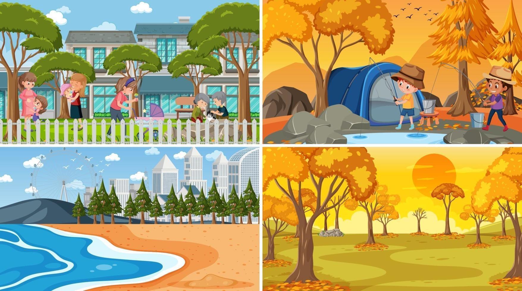 verschillende achtergrondscènes van de natuur in set vector