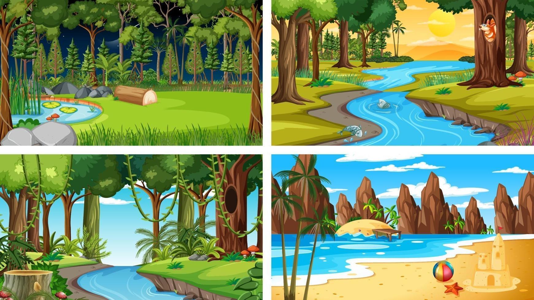 vier verschillende natuur horizontale scènes vector
