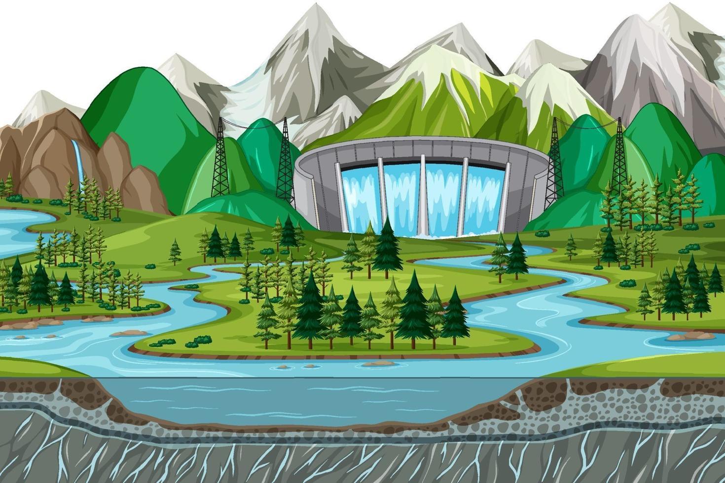 scène met water dam achtergrond vector