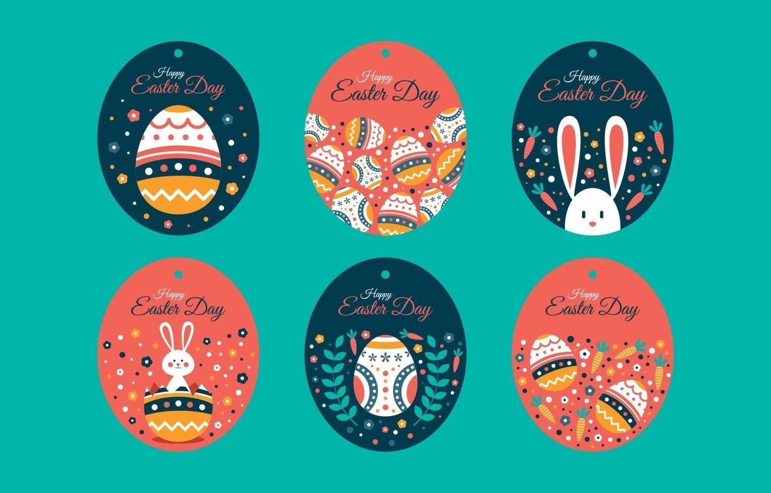 paaseieren, konijn, wortel en bloemenetiketcollectie vector