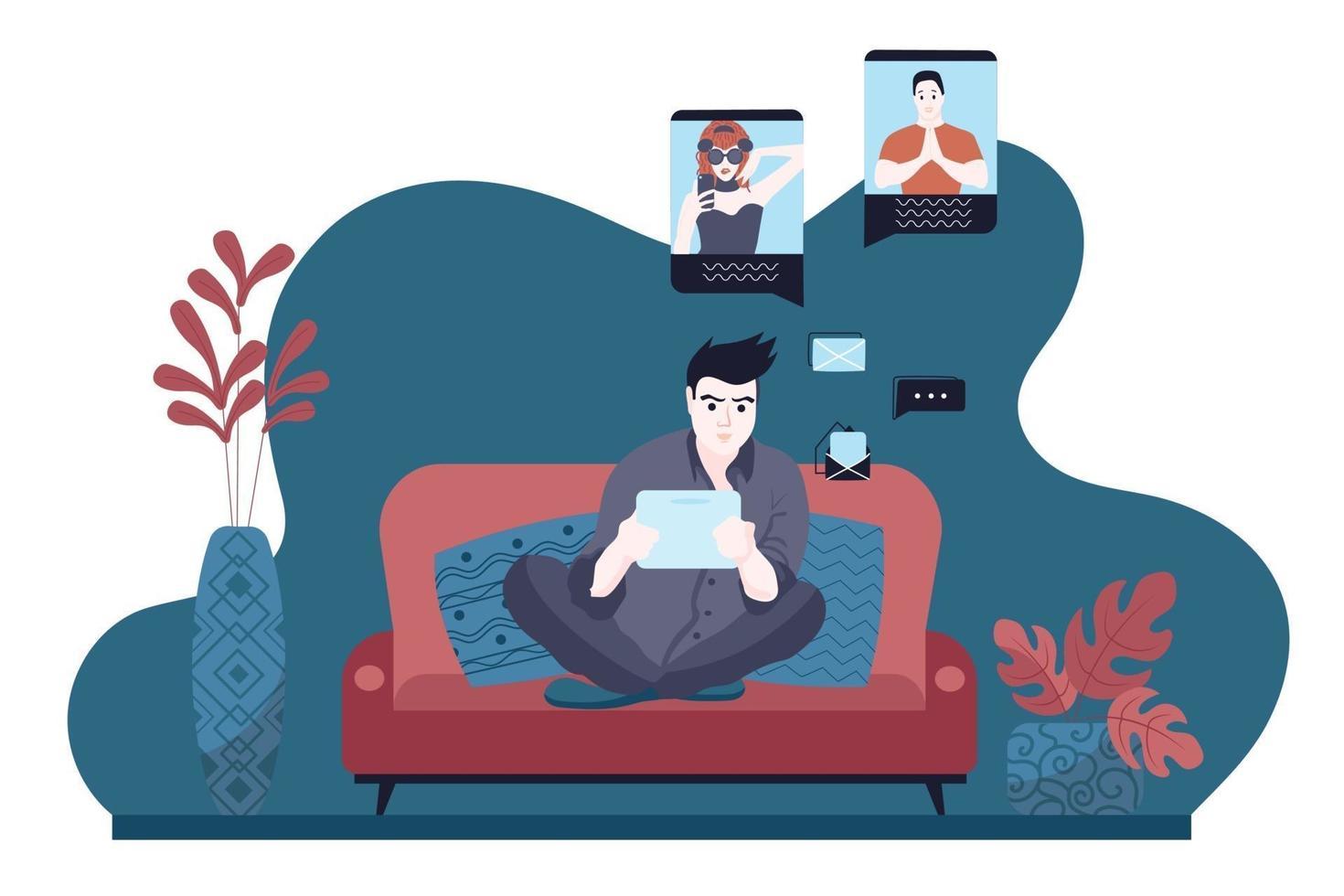 een jonge man zit op de bank en communiceert op sociale netwerken met vrienden op een tablet. wintervakantie, online tijd thuis doorbrengen. vector illustratie