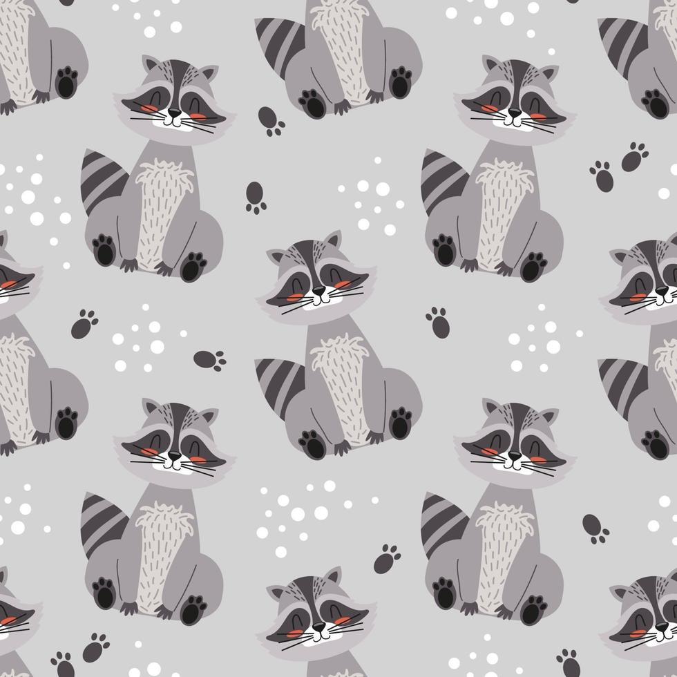 wasbeer schattig naadloze patroon. cartoon vector illustratie kinderen achtergrond