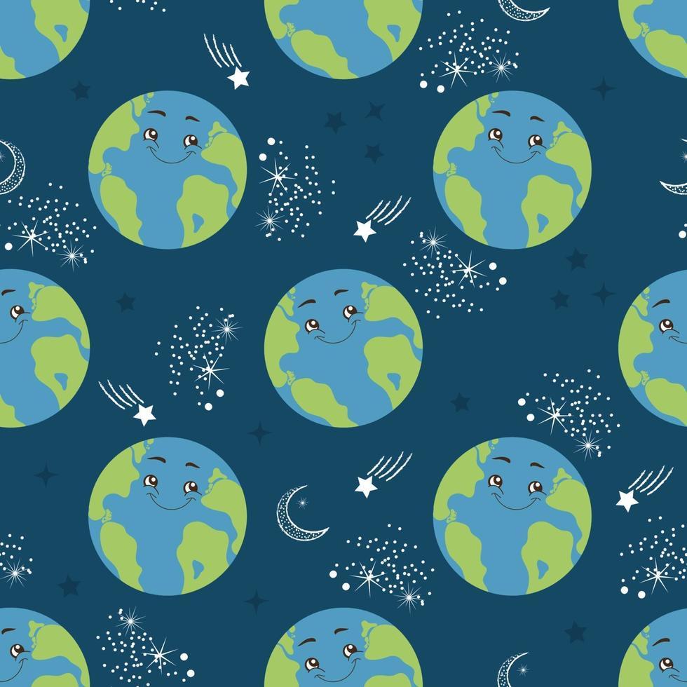 naadloze patroon cartoon aarde planeet. gelukkig wereldbol karakter in de ruimte. vectorillustratie voor textieldruk, inpakpapier en behang vector