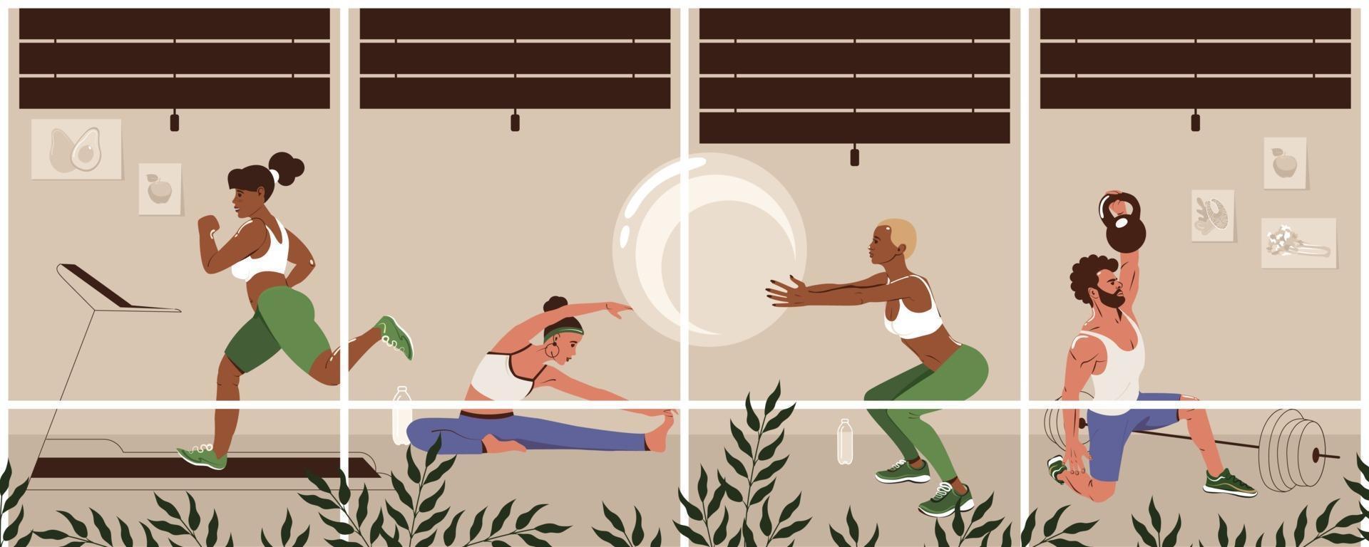 verschillende jonge mensen die bij moderne gymnastiek uitoefenen. gezonde levensstijl, fitness concept. mannen en vrouwen doen fysieke oefeningen. platte vectorillustratie vector