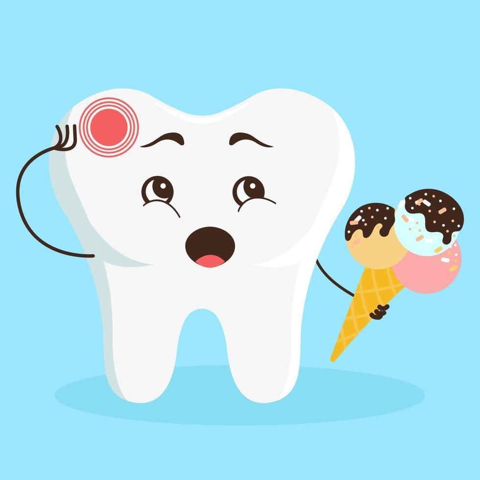 schattig stripfiguur tand doet pijn. overgevoeligheid van tanden voor kou bij kinderen. platte vectorillustratie vector