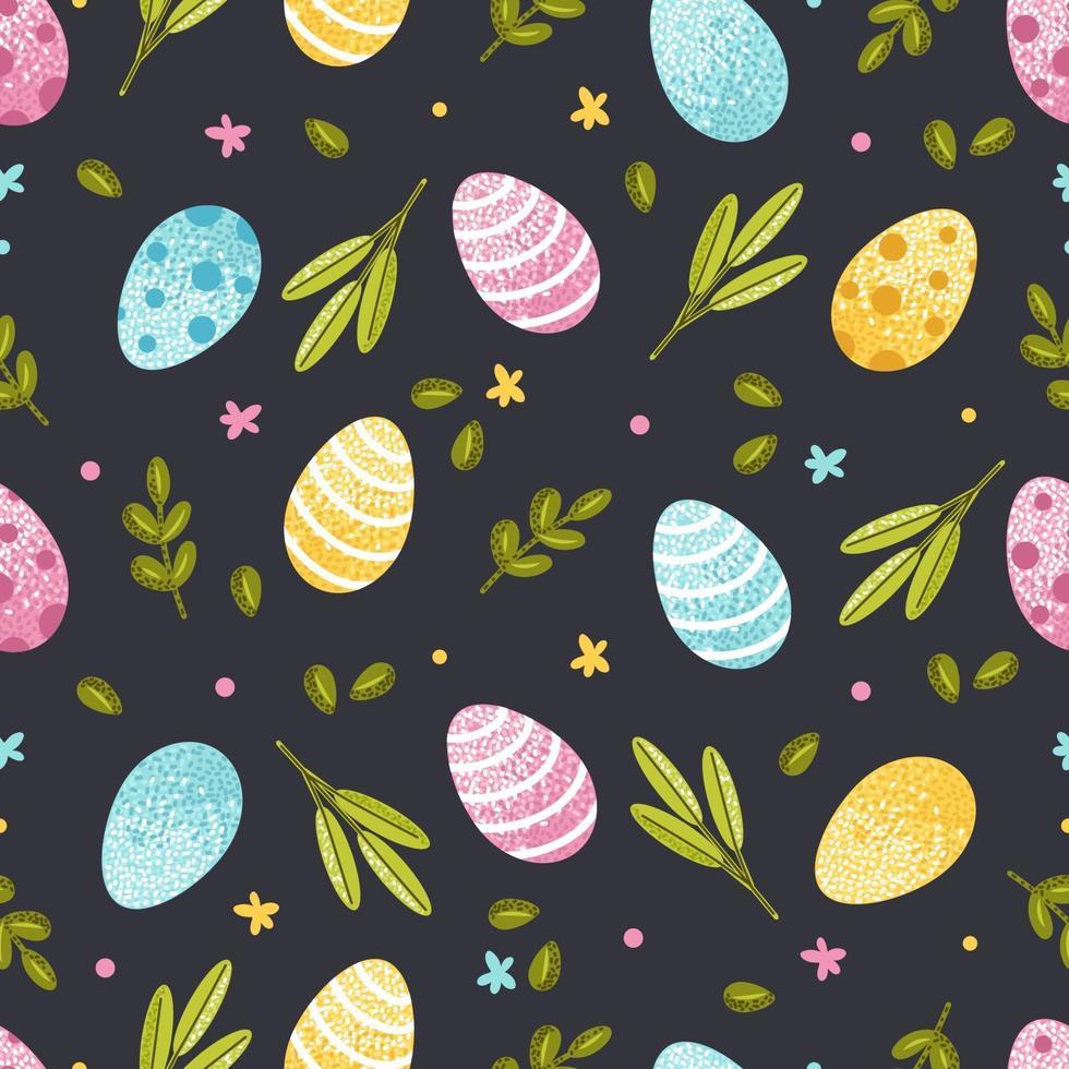 Pasen naadloze patroon met eieren en lente-elementen. vectorillustratie voor behang, inpakpapier, ansichtkaarten vector