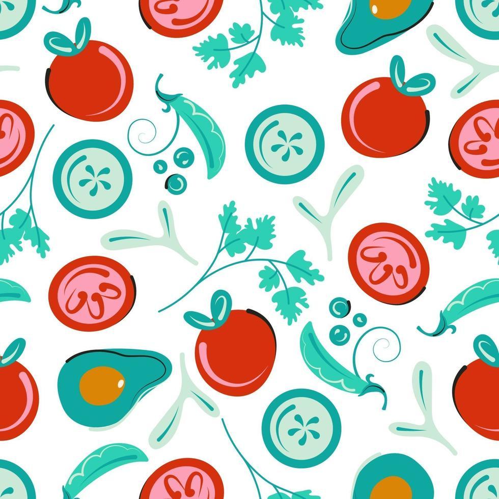 naadloos plantaardig patroon. vegetarische achtergrond met tomaten, komkommers, avocado en groene erwten. platte vectorillustratie vector