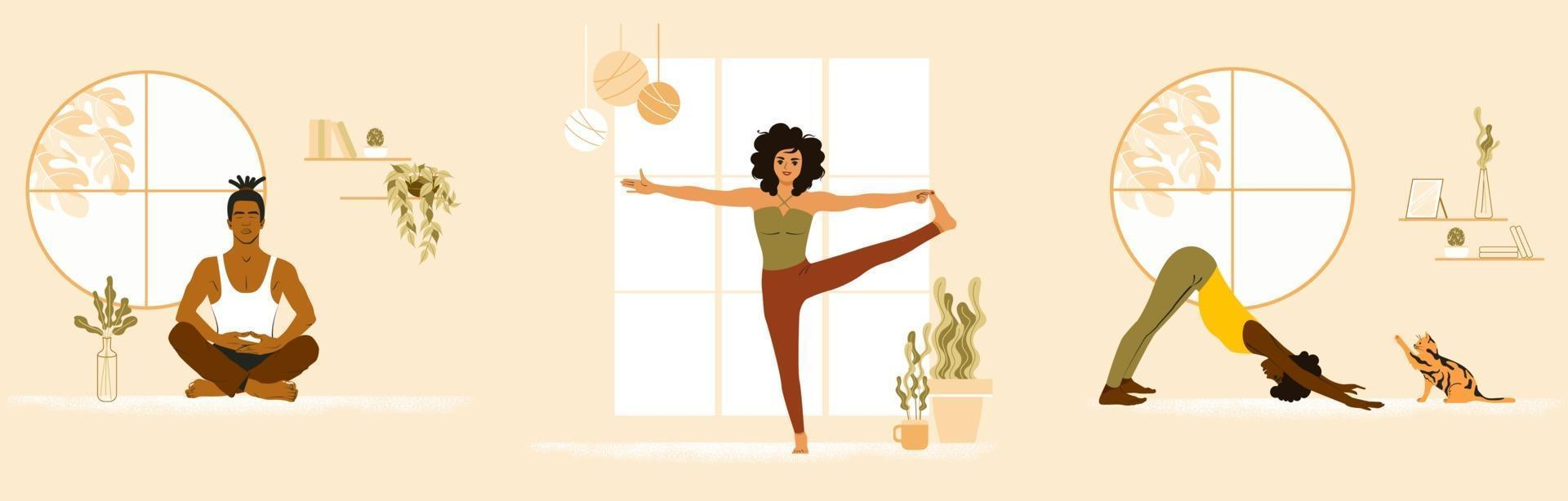 aantal jonge mensen die yoga thuis doen. Afro-Amerikaanse vrouw, Aziatische man en wit meisje op yogales. platte vectorillustratie vector