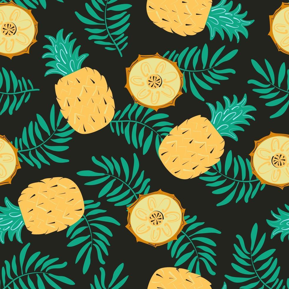 naadloze patroon met ananas, plakjes en palmbladeren. exotische vector achtergrond