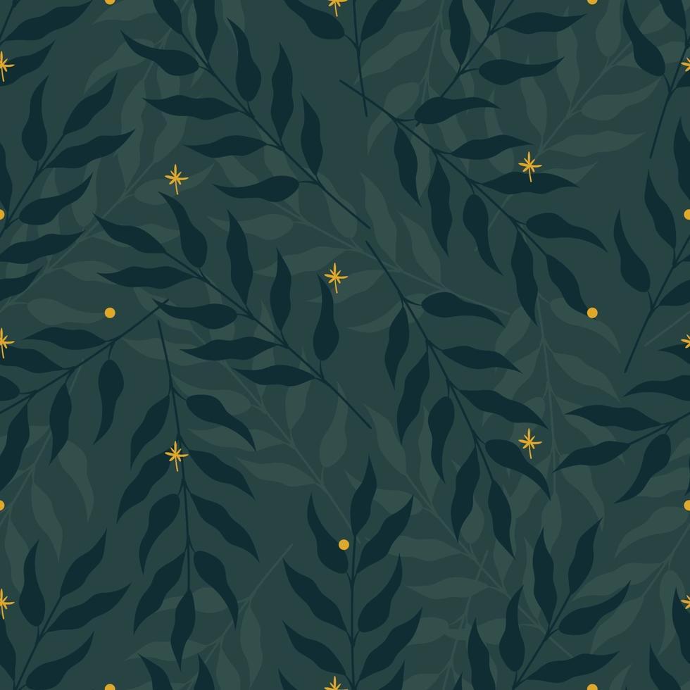 naadloze natuur patroon met groene bladeren en gele sterren of vuurvliegjes. platte vectorillustratie vector