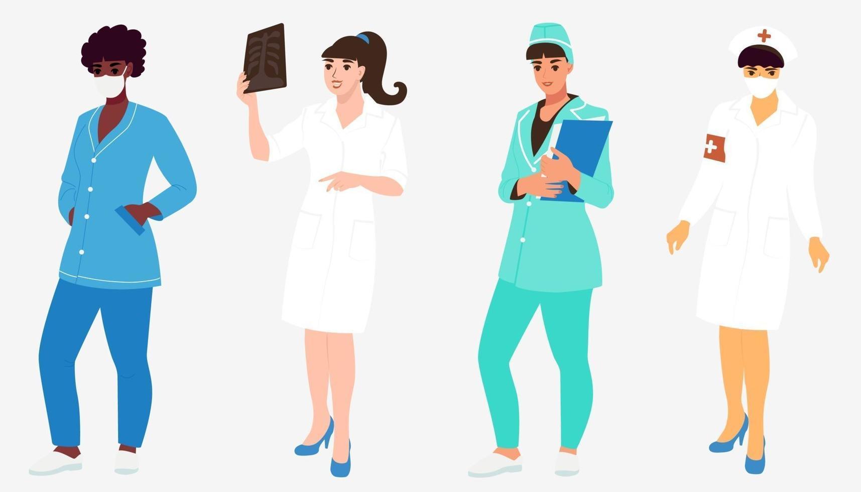 een stel meisjesverpleegsters, dokters van verschillende nationaliteiten. Afro-Amerikaanse, Aziatische en blanke vrouwelijke medische professional. platte vectorillustratie vector