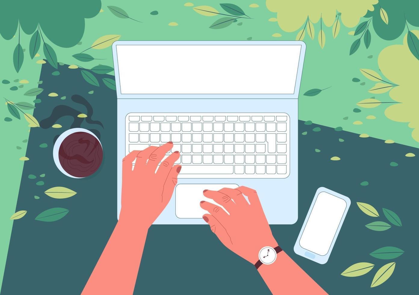 freelancer met een laptop die werkt terwijl hij in het lentepark ligt. eerste persoonsweergave. mannelijke handen typen op het toetsenbord. bovenaanzicht. vector illustratie.