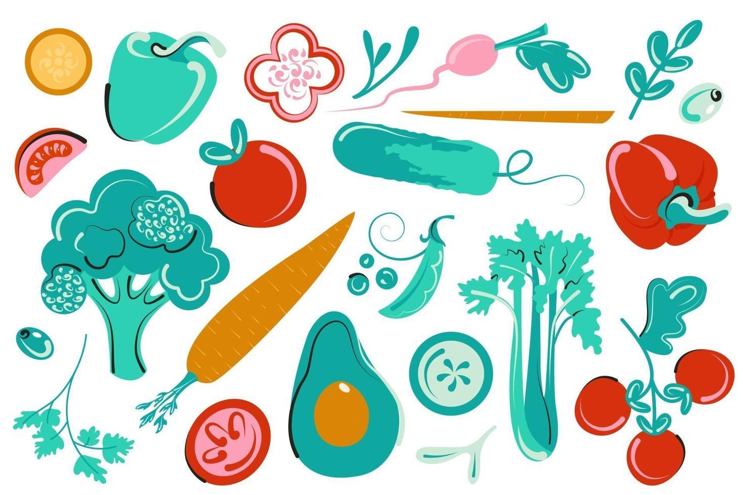 set van groenten. verse veganistische collectie. vlakke groen illustratie vector