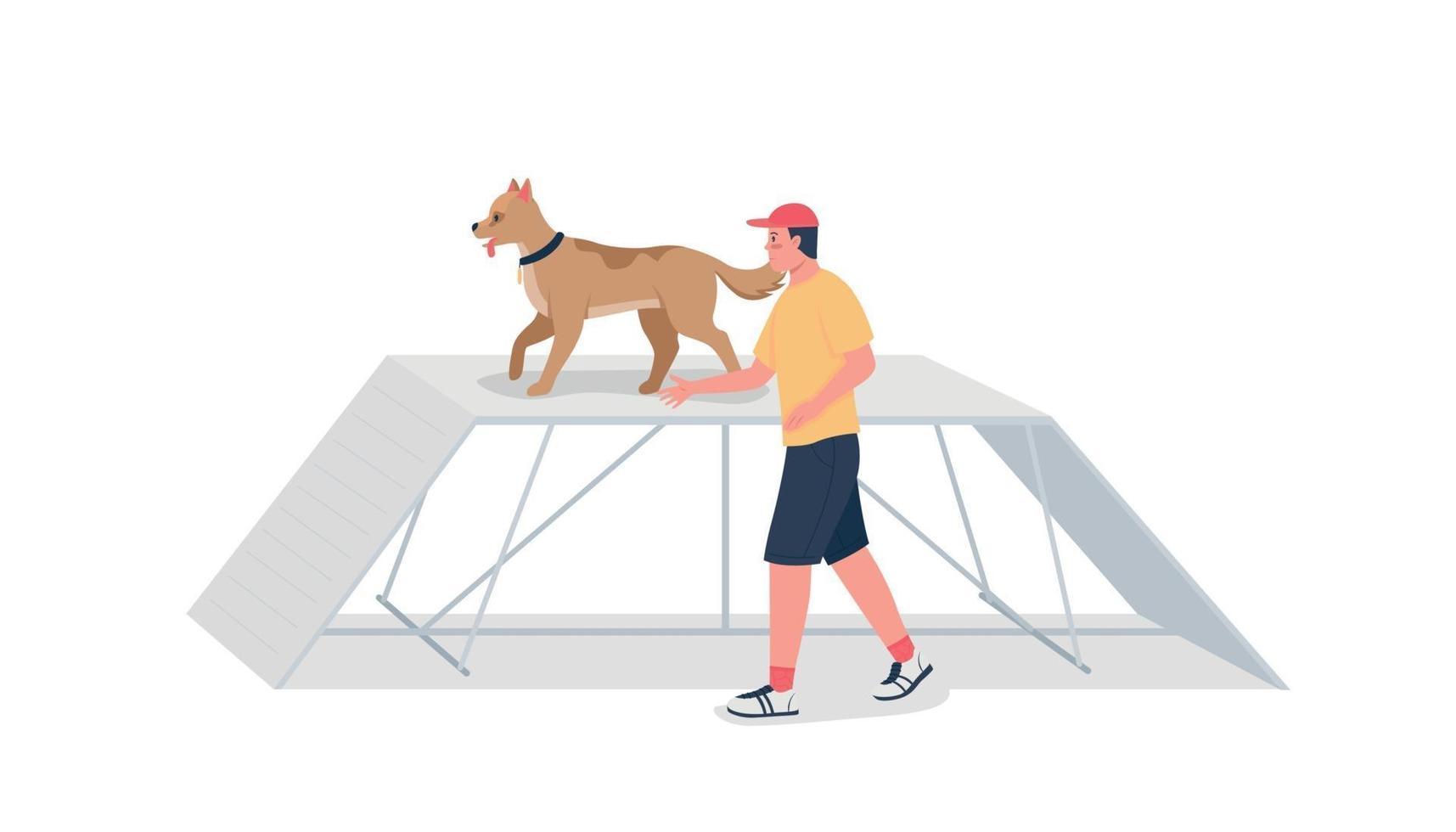 man opleiding hond op hindernissenparcours egale kleur vector gedetailleerd karakter