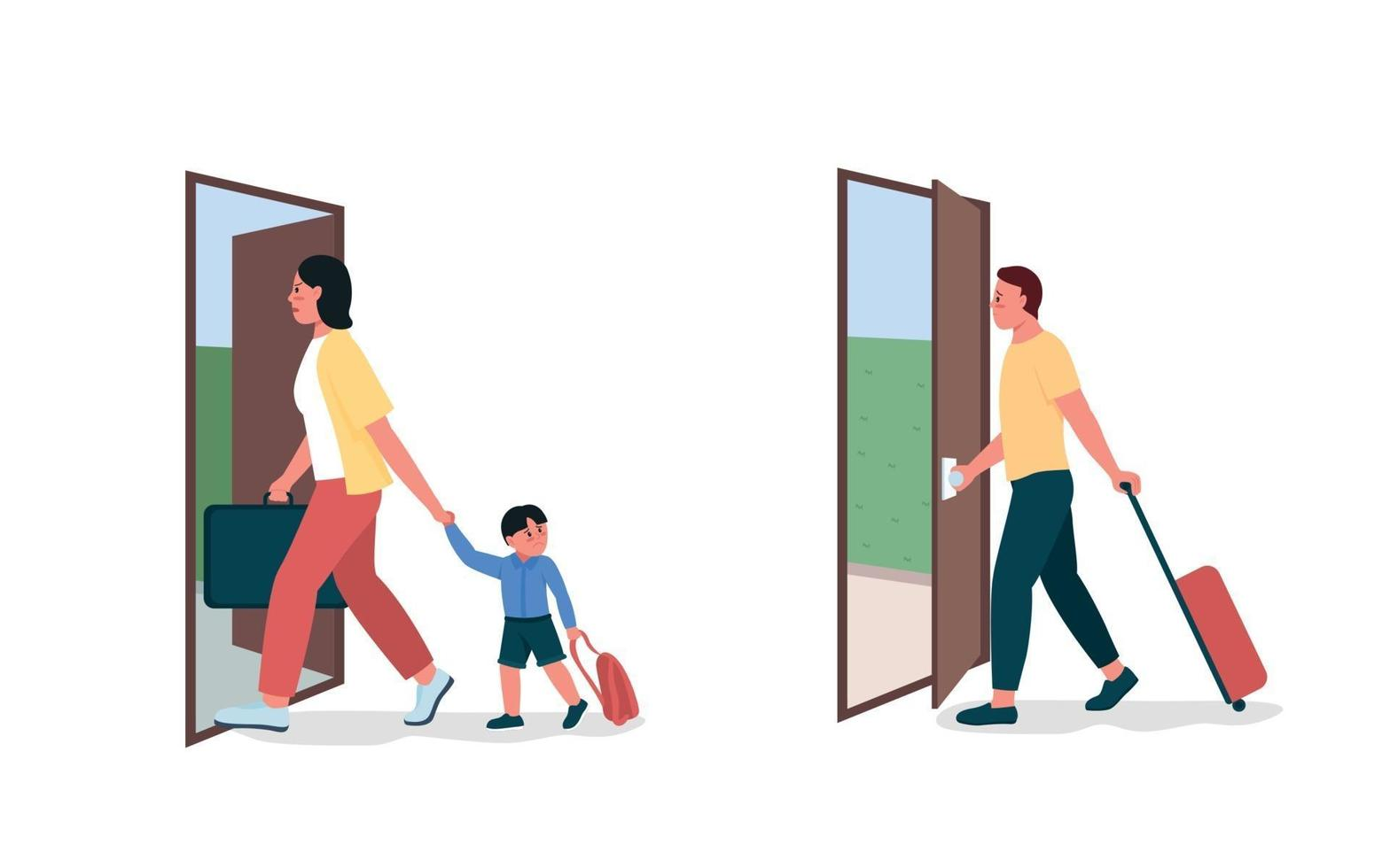 moeder, vader verlaat egale kleur vector gedetailleerde tekenset