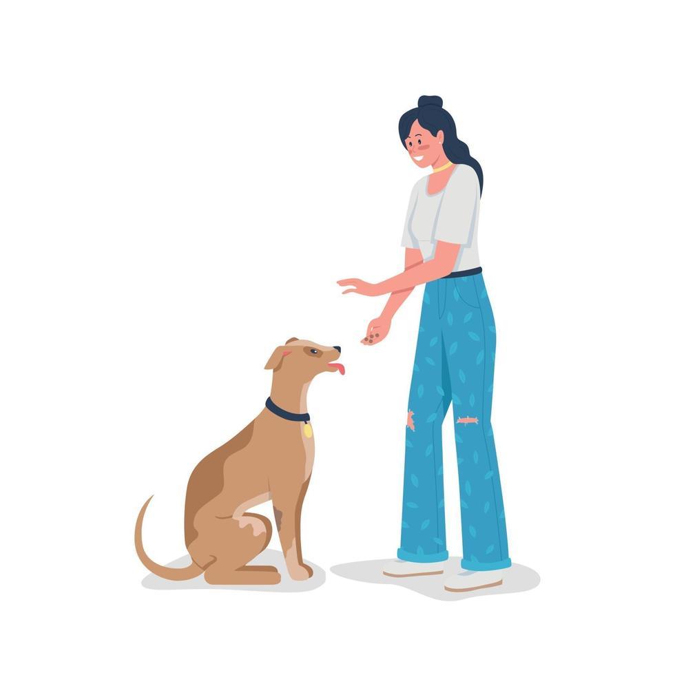 vrouw die hond onderwijst om egale kleur vector gedetailleerd karakter te zitten