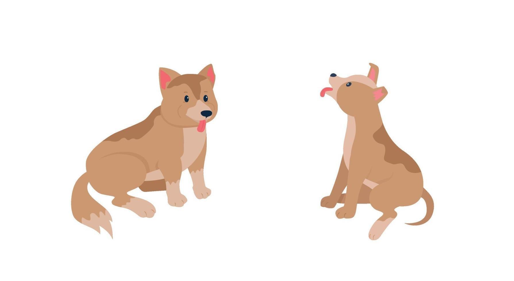 gelukkige puppy's egale kleur vector gedetailleerde tekenset