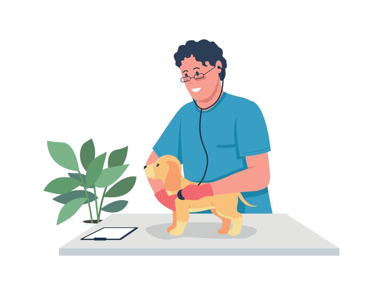 dierenarts arts die puppy egale kleur vector gedetailleerd karakter houdt