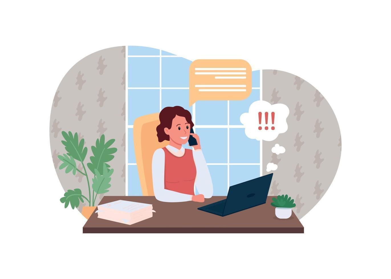 werk telefoongesprek 2d vector webbanner, poster