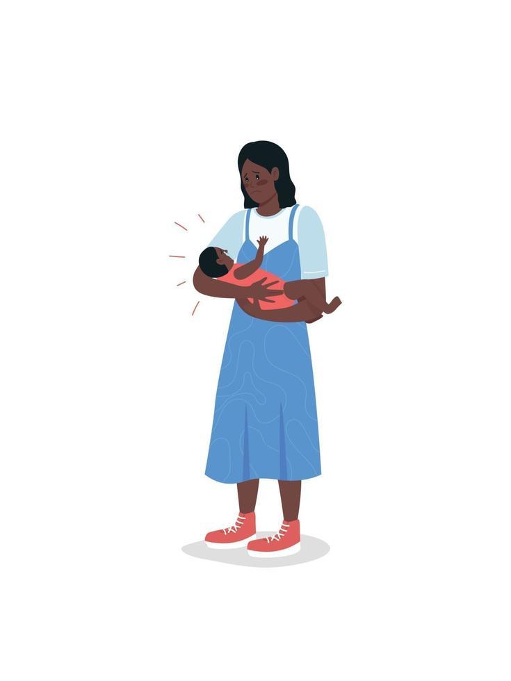 bezorgd jonge moeder met schreeuwende baby egale kleur vector gedetailleerde karakters