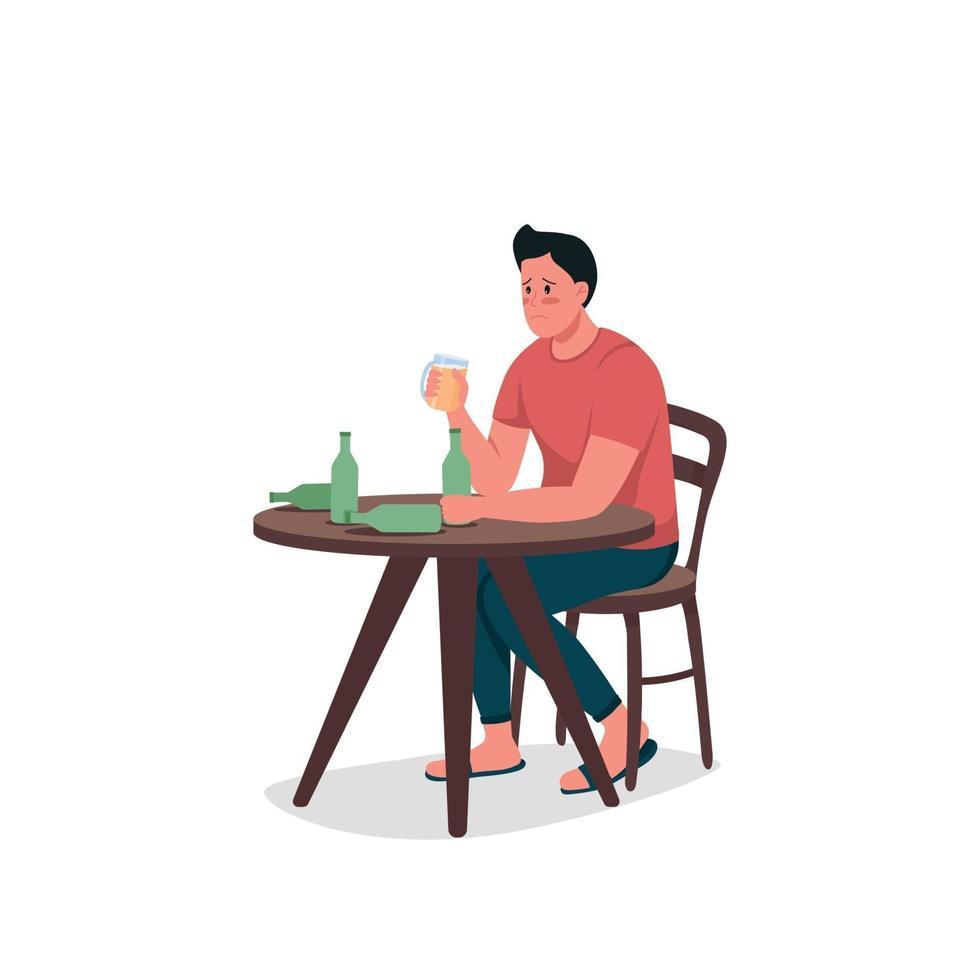 alcoholische man egale kleur vector gedetailleerd karakter