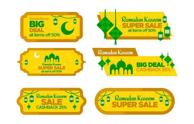 ramadan verkoop label collectie vector
