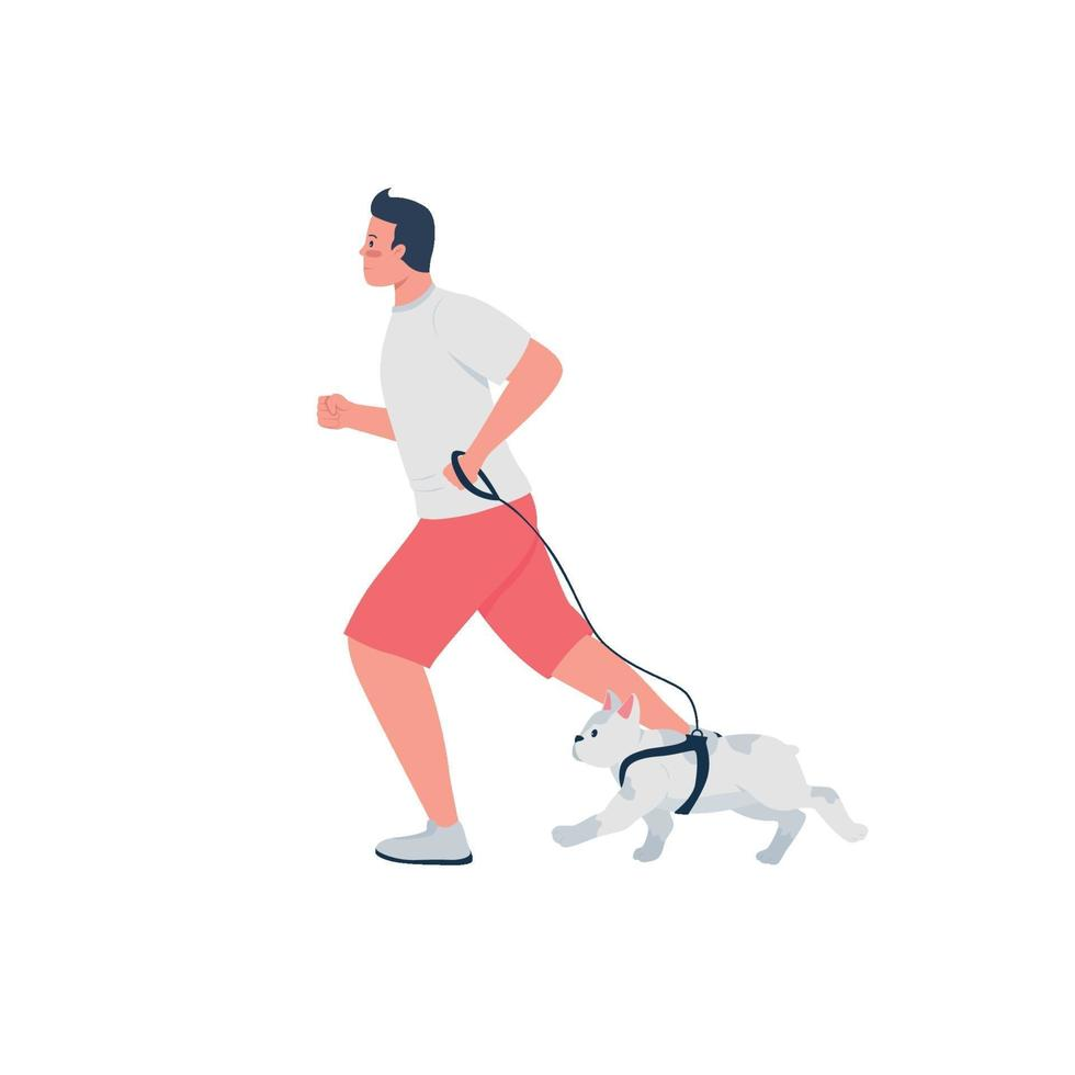 man loopt met hond aangelijnd egale kleur vector gedetailleerd karakter