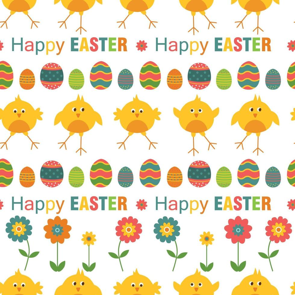 naadloos vrolijk Pasen-patroon met eieren, bloemen en kip op witte achtergrond. vector illustratie.