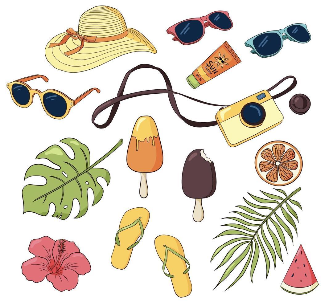 vector set zomervakantie items. tropische bladeren, fotocamera, ijs, zonnebrillen, kleding en verzorging. handgetekende elementen van recreatie op zee