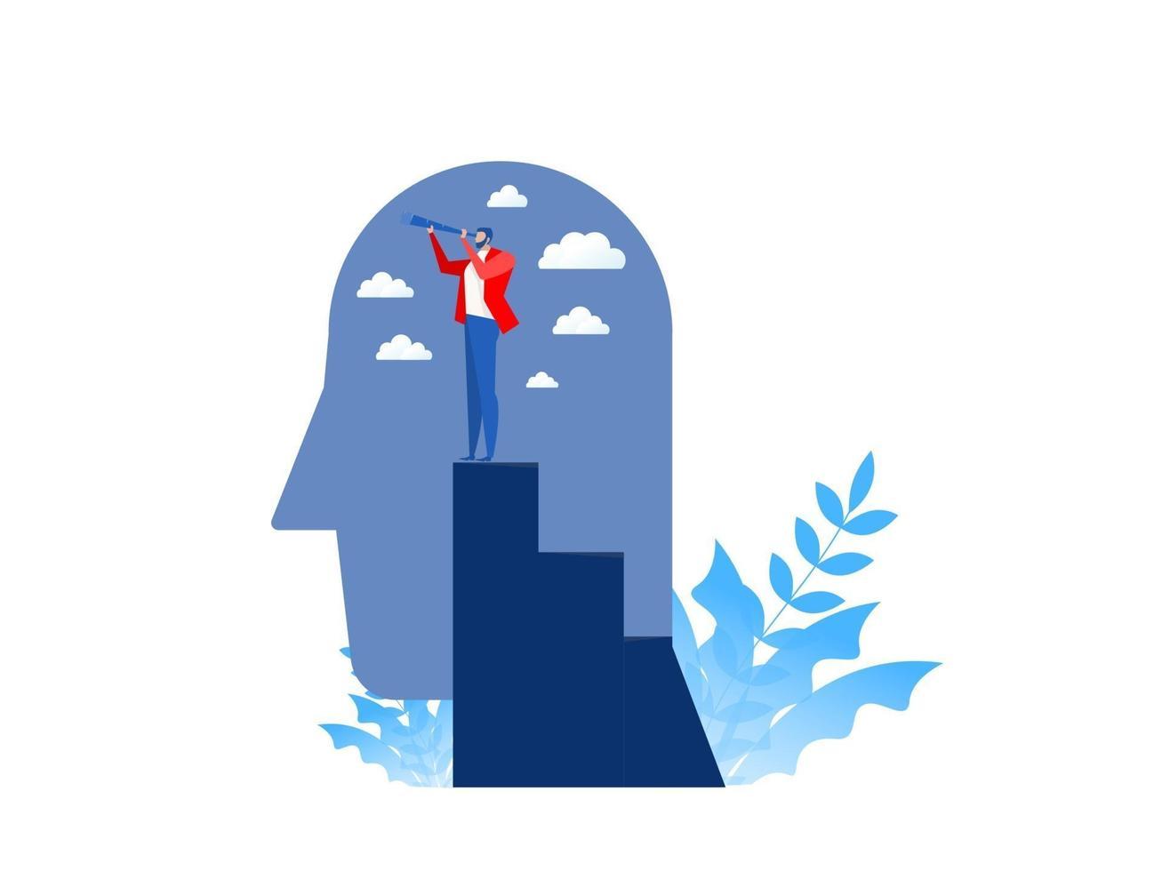 bedrijfsvisie met persoon die kansen in verrekijker zoekt die zich op hoogste piek van menselijk hoofd, bedrijfsconcept vectorillustratie bevindt. vector