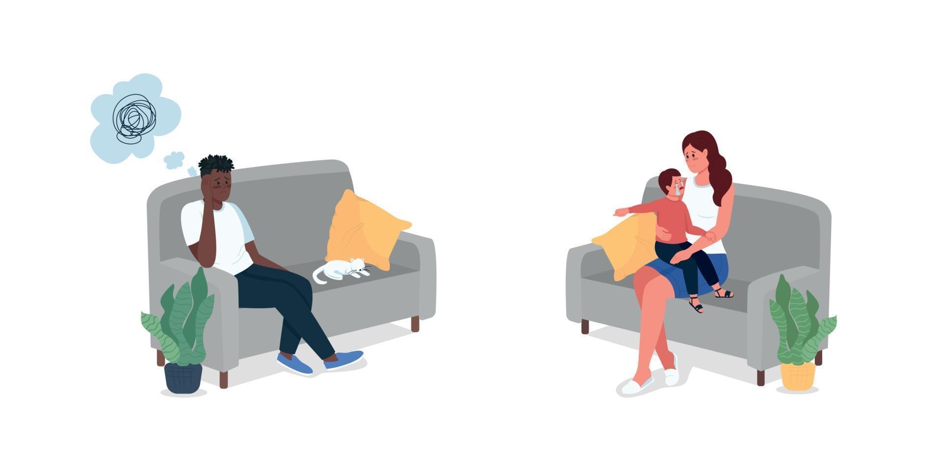 familieleden zittend op de bank egale kleur vector gedetailleerde tekenset