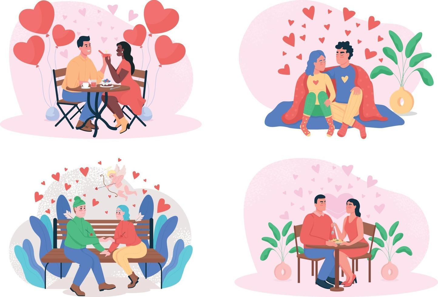 Valentijnsdag 2d vector webbanner, poster set