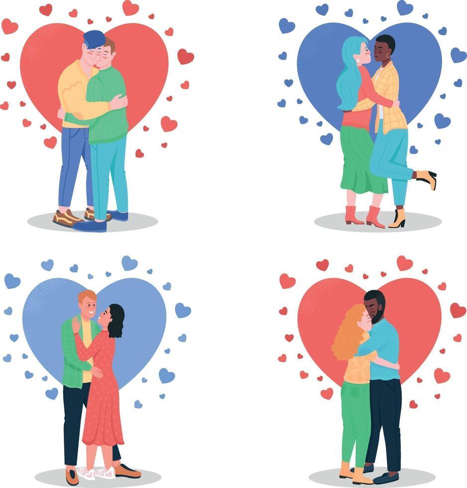 knuffelen verliefde koppels egale kleur vector gedetailleerde tekenset