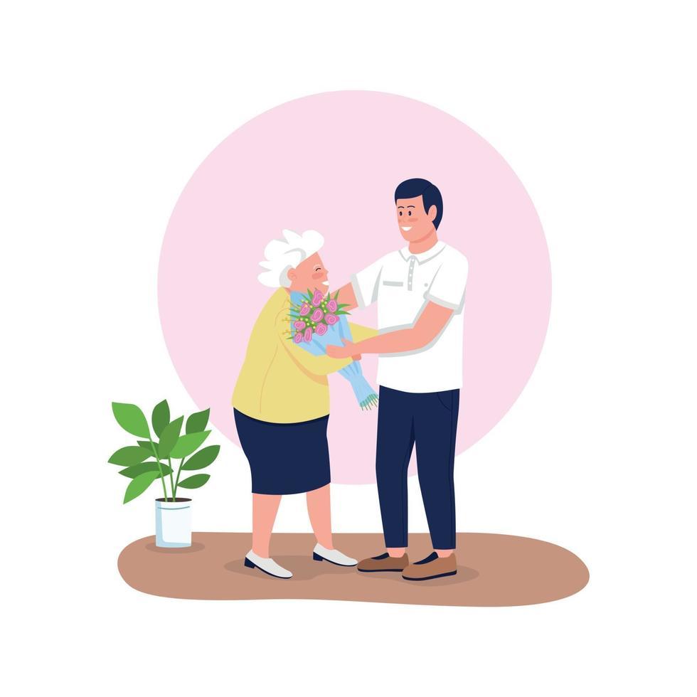 kleinzoon geven grootmoeder bloemen egale kleur vector gedetailleerde karakters