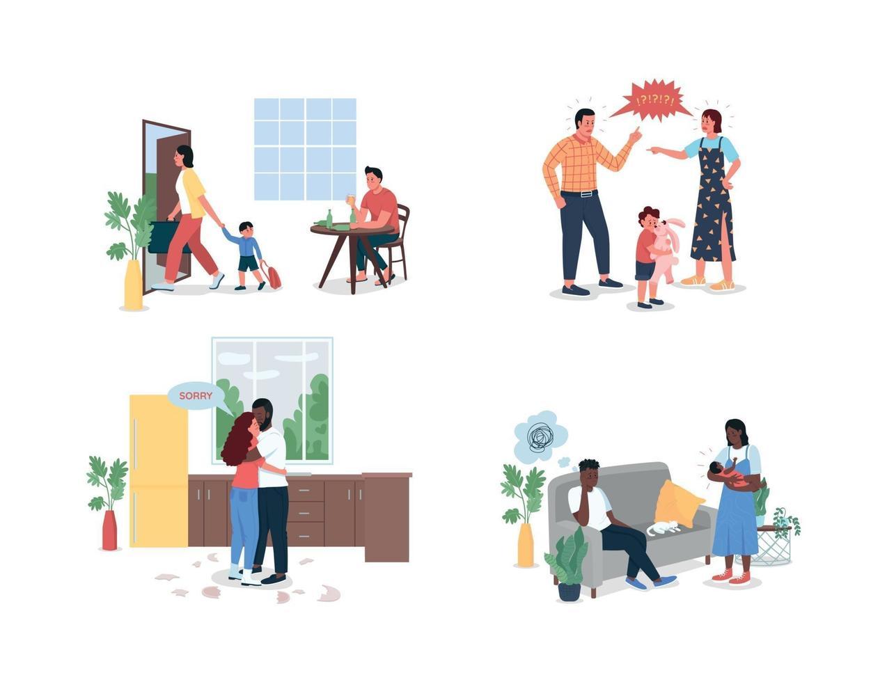 ruzie familie egale kleur vector gedetailleerde tekenset