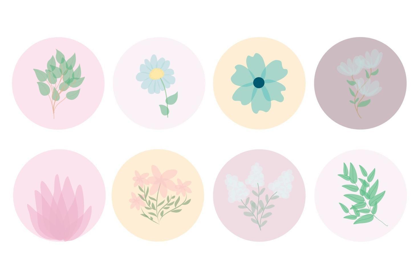 markeer covers voor social media-verhalenvector. veelkleurige cirkels met bloemen en bladeren. ronde bloemen botanische pictogrammen. perfect voor bloggers, merken, stickers, wending, design, decor vector