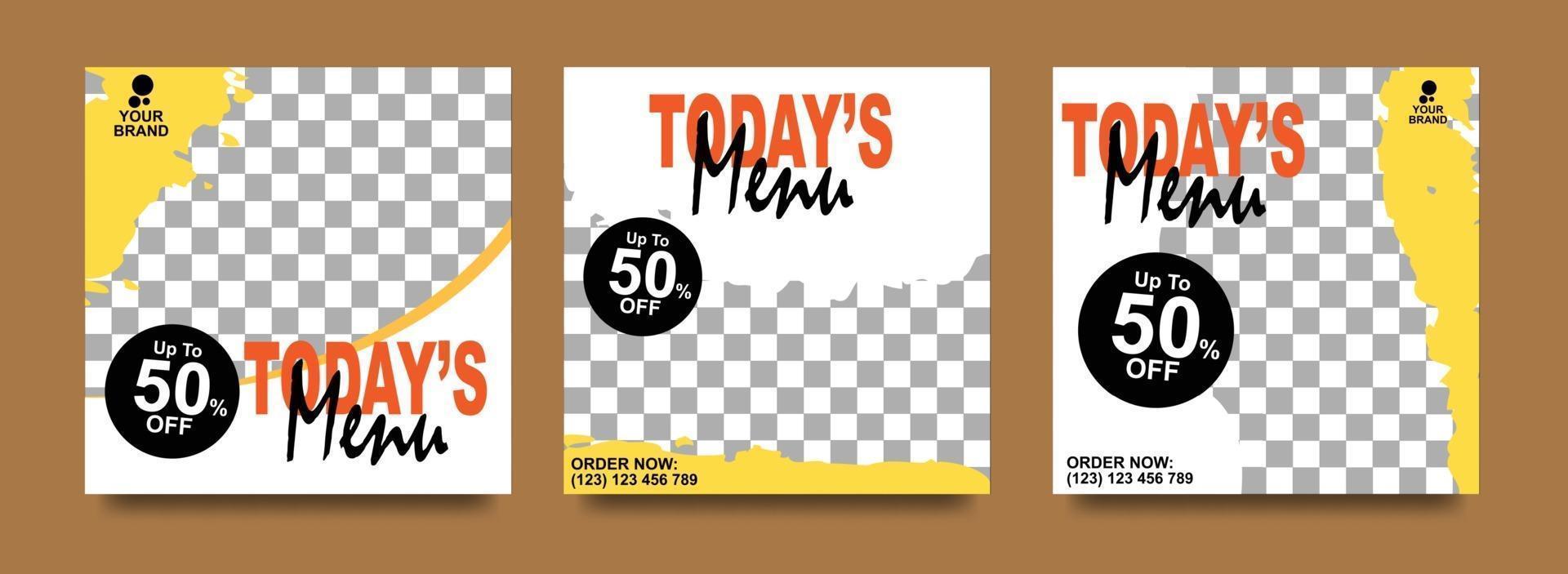 sociale media-banner voor levensmiddelenbedrijven. voedsel sociale mediasjabloon voor restaurantzaken. moderne sociale sjabloon postbanner. voedselkorting post-sjabloon. vector
