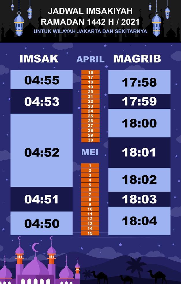 kalender imsakiyah met nieuw concept vector