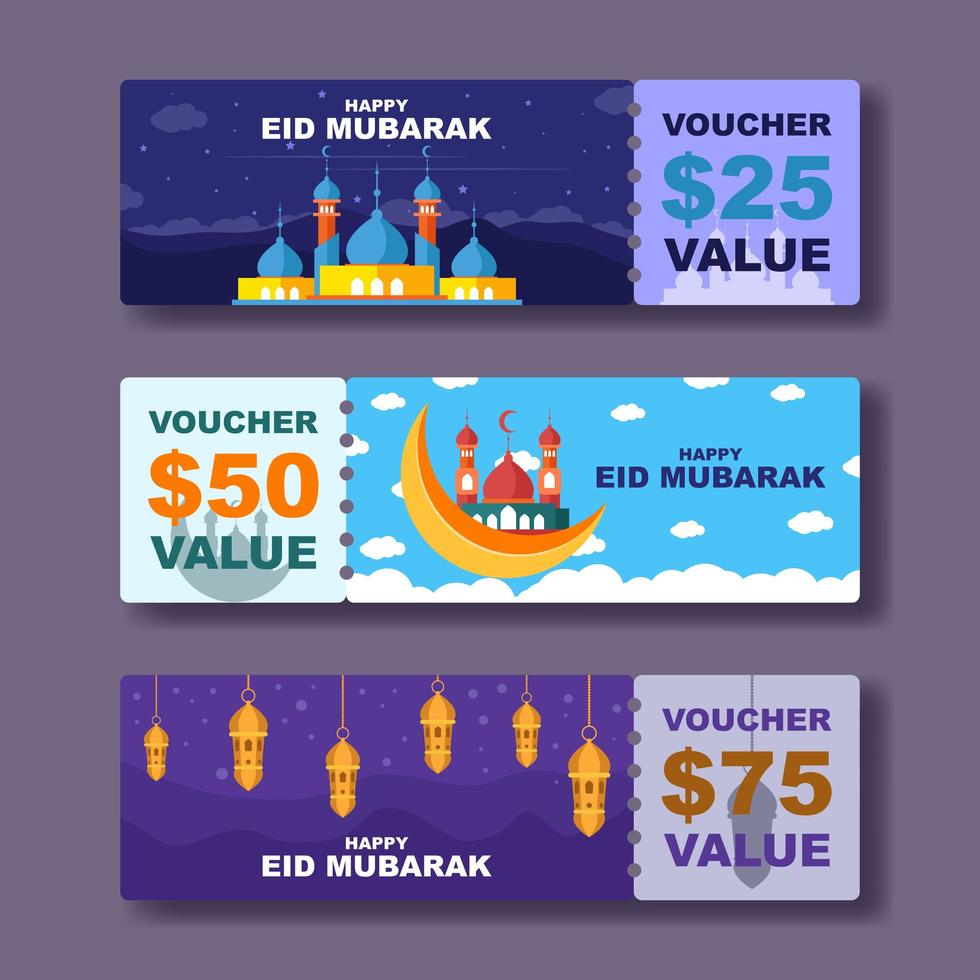 gelukkige eid mubarak-tegoedbon vector