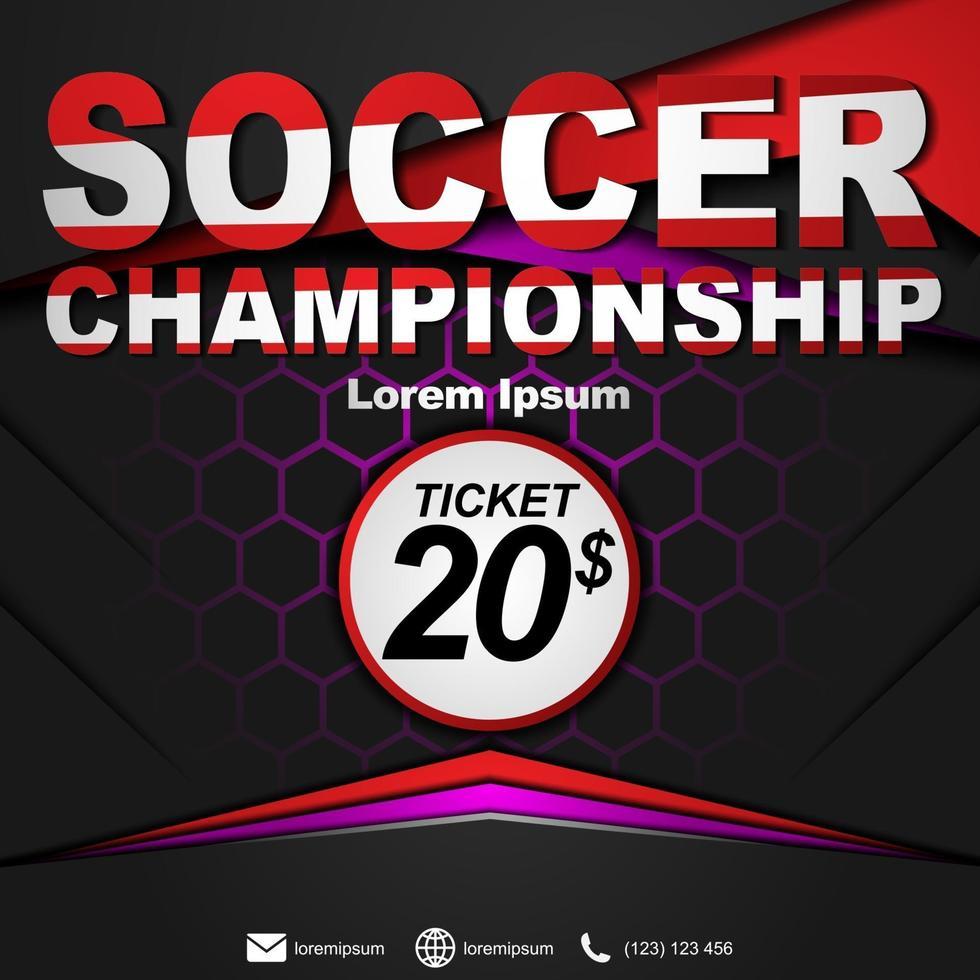 sociale media postsjabloon voor voetbalkampioenschap. voetbal kampioenschap poster. vector