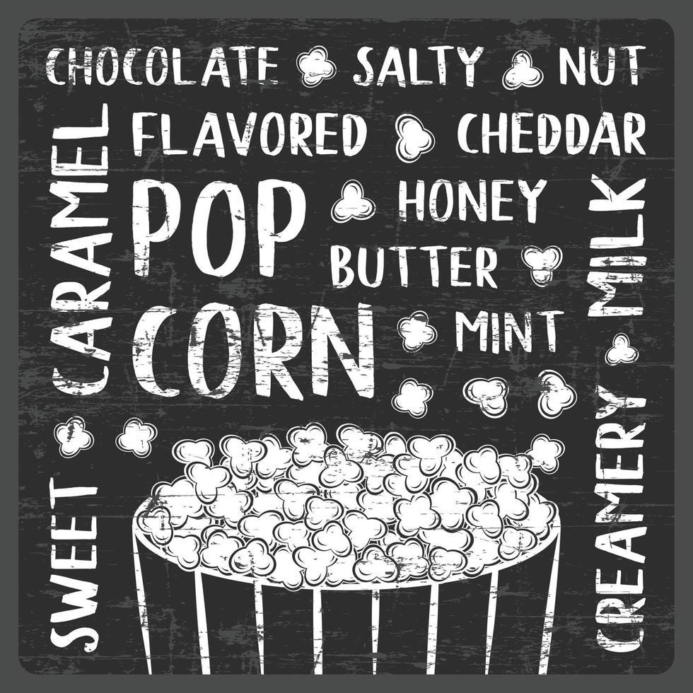 gearomatiseerde popcorn typografie schoolbord stijl poster bewegwijzering vector