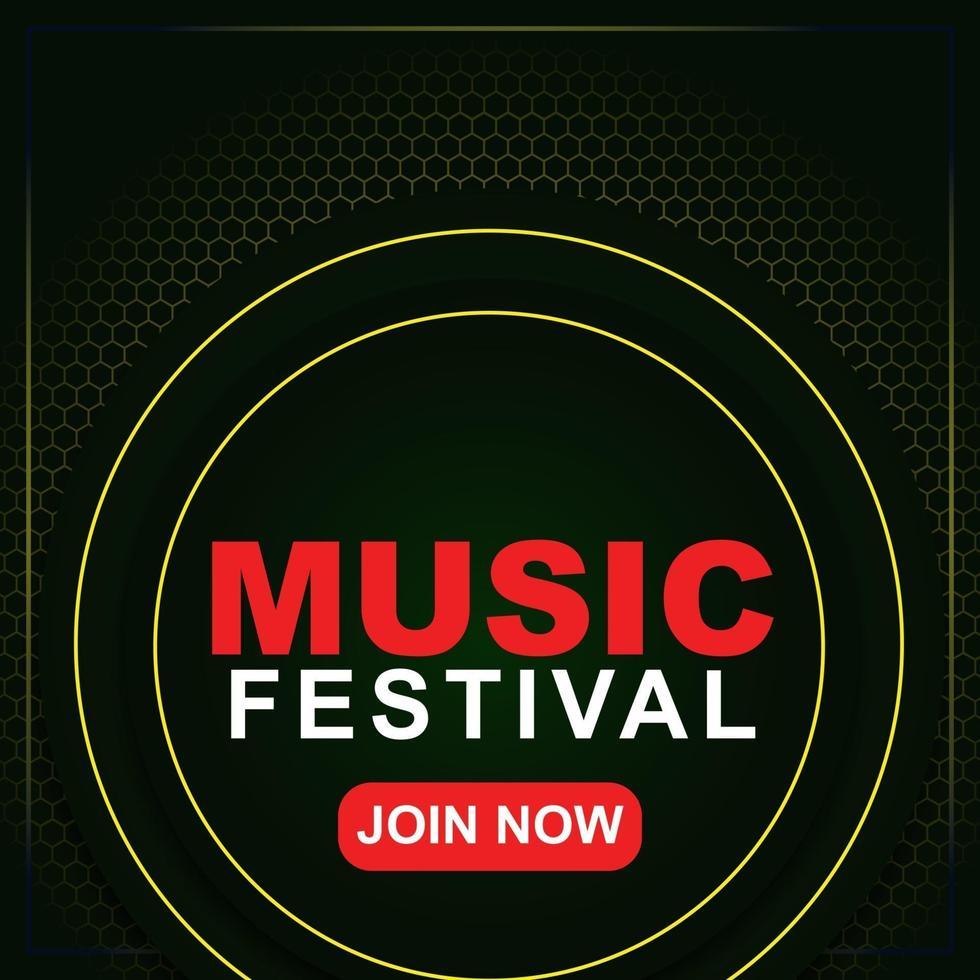 muziekfestival-bannermalplaatje voor post op sociale media, webadvertenties, poster. muziekfestival poster sjabloon. 3D-achtergrond flyer voor muziekfestival. vector