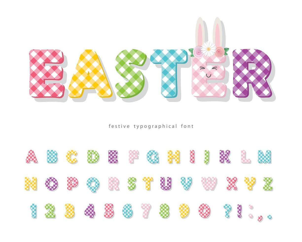 Pasen geruite lettertype. kleurrijk textiel alfabet. schattige cartoon letters en cijfers. vector