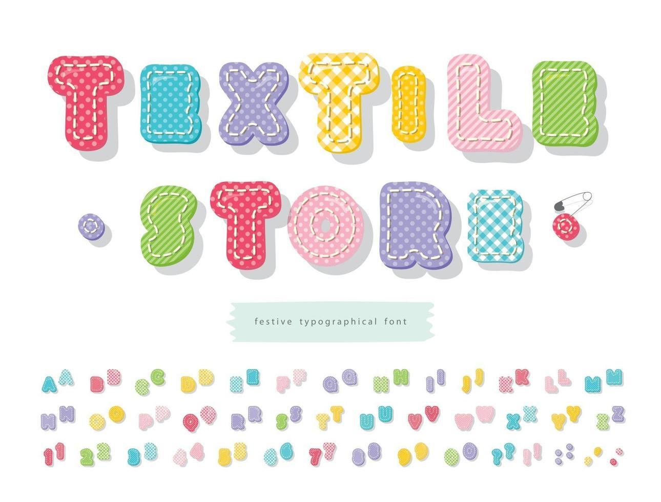 helder textiel lettertype voor kinderen. kleurrijke cartoon alfabet. perfect voor verjaardag, babydouche. twee varianten van elke letter en cijfer. vector