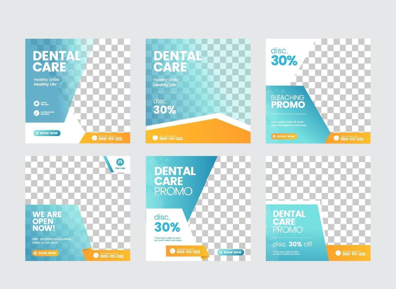 tandarts en tandheelkundige zorg social media postsjabloon vector